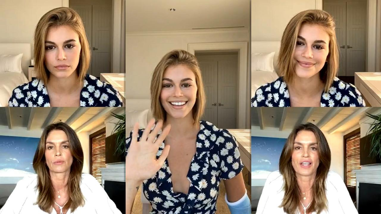 Kaia Gerber's Instagram Live Stream with her mom Cindy Crawford from May 15th 2020.
