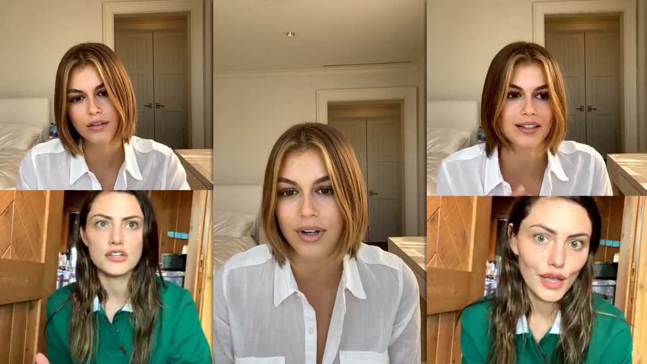 Kaia Gerber's Instagram Live Stream with Phoebe Tonkin from May 1st 2020.