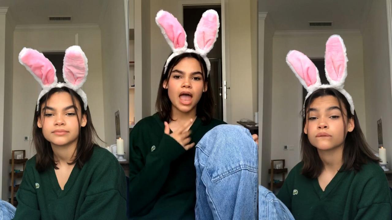 Ariana Greenblatt's Instagram Live Stream from May 1st 2021.